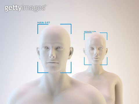 Androids and facial recognition, illustration. - gettyimageskorea