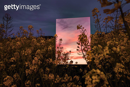 Creative picture of square mirror reflecting dramatic sunset landscape in the nature. - gettyimageskorea