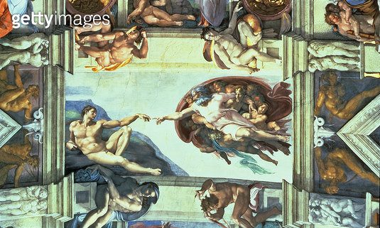 <b>Title</b> : Sistine Chapel Ceiling: Creation of Adam, 1510 (fresco) (post restoration)<br><b>Medium</b> : fresco<br><b>Location</b> : Vatican Museums and Galleries, Vatican City, Italy<br> - gettyimageskorea