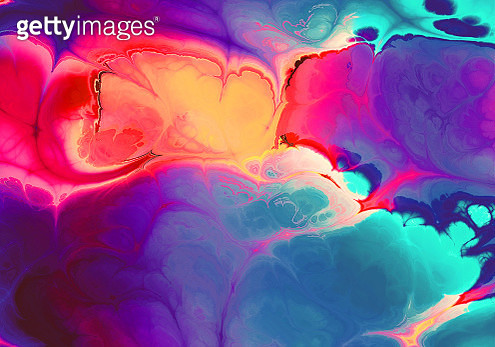 Creative multicolored ebru background with abstract painted waves - gettyimageskorea