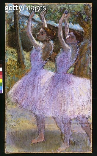 <b>Title</b> : PD.2-1979 Dancers in violet dresses, arms raised, c.1900 (pastel and black chalk on paper)Additional InfoDanseuses aux jupes vio<br><b>Medium</b> : pastel and black chalk on paper<br><b>Location</b> : Fitzwilliam Museum, University of Cambr - gettyimageskorea
