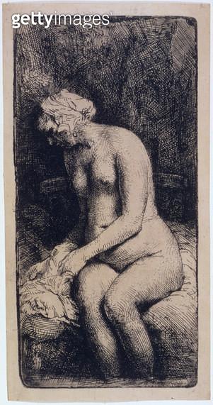 <b>Title</b> : AD.12.39-162 Woman bathing, 1658 (etching)<br><b>Medium</b> : etching<br><b>Location</b> : Fitzwilliam Museum, University of Cambridge, UK<br> - gettyimageskorea