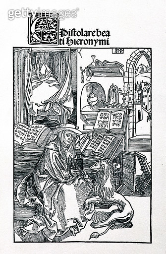 St. Jerome in his study pulling a thorn from a lion's paw, frontispiece to a collection of St. Jerome's letters, pub. 1492 (woodcut) - gettyimageskorea