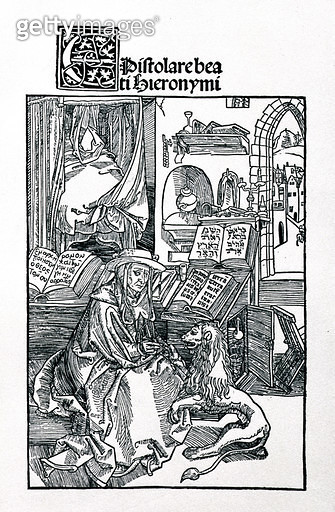 <b>Title</b> : St. Jerome in his study pulling a thorn from a lion's paw, frontispiece to a collection of St. Jerome's letters, pub. 1492 (woodcut)<br><b>Medium</b> : woodcut<br><b>Location</b> : Private Collection<br> - gettyimageskorea