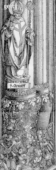 <b>Title</b> : The Triumphal Arch of Emperor Maximilian I of Germany (1459-1519): detail of column from left-hand gate showing statue of St. Arnulf (d.643) with a grape vine below and cherubs blowing trumpets, pub. 1517/18 (woodcut)<br><b>Medium</b> : woo - gettyimageskorea
