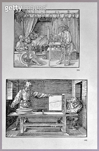 <b>Title</b> : Apparatus for translating three-dimensional objects into two-dimensional drawings, two scenes from the artist's first technical book 'Introduction in the Art of Measurement with Compass and Ruler', written in German, pub. 1525 (woodcut)<br> - gettyimageskorea
