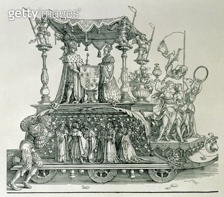 <b>Title</b> : The Burgundian Marriage or the Triumphal Procession of Emperor Maximilian I of Germany (1459-1519) showing the wedding chariot of Maximilian and Mary of Burgundy (1458-82) steered by the figure of Victory, pub. 1526 (woodcut)<br><b>Medium</ - gettyimageskorea