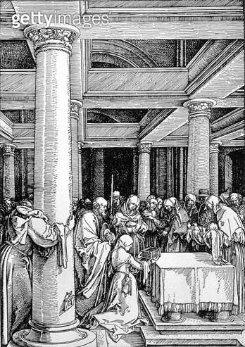 <b>Title</b> : The Presentation in the Temple, c.1503/4 (woodcut)<br><b>Medium</b> : woodcut<br><b>Location</b> : Private Collection<br> - gettyimageskorea