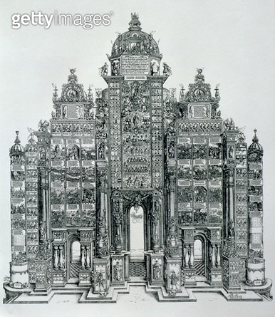 <b>Title</b> : The Triumphal Arch of Emperor Maximilian I of Germany (1459-1519), dated 1515, pub. 1517/18 (woodcut)<br><b>Medium</b> : woodcut<br><b>Location</b> : Private Collection<br> - gettyimageskorea