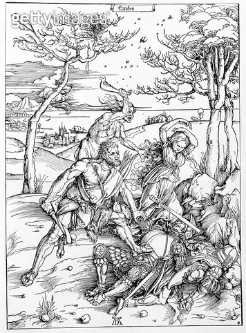 <b>Title</b> : Hercules Killing the Molionides, c.1496/98 (woodcut)<br><b>Medium</b> : woodcut<br><b>Location</b> : Private Collection<br> - gettyimageskorea