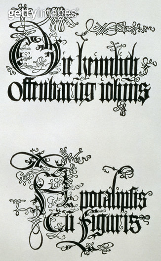 <b>Title</b> : Inscriptions in Gothic script, the lower from the titlepage from 'Nine Sheets from the Apocalypse', pub. 1498 (woodcut)<br><b>Medium</b> : woodcut<br><b>Location</b> : Private Collection<br> - gettyimageskorea