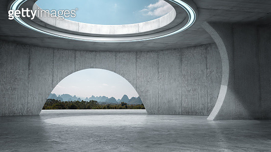 Futuristic Empty Space With Idyllic Landscape - gettyimageskorea