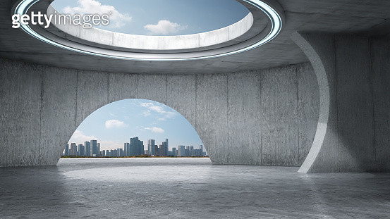 Empty Abstract Concrete Space With City Skyline - gettyimageskorea