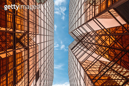 directly below view of modern golden architecture - gettyimageskorea