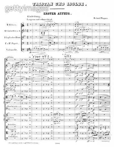 WAGNER: TRISTAN & ISOLDE. /nPage one of the printed score for Richard Wagner's Tristan and Isolde, completed in 1859 and first performed in 1865. - gettyimageskorea
