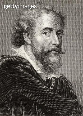 <b>Title</b> : Peter Paul Rubens (1577-1640) (engraving)<br><b>Medium</b> : <br><b>Location</b> : Private Collection<br> - gettyimageskorea