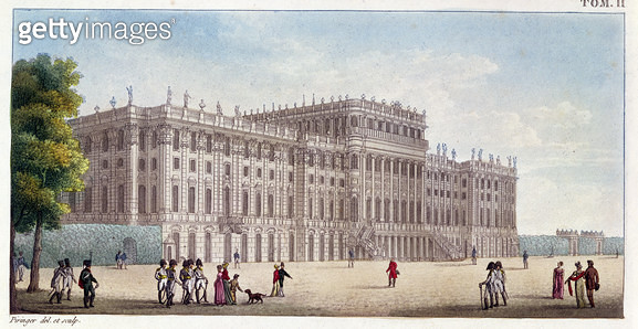 <b>Title</b> : View of the Schonbrunn Palace seen from the gardens, early 19th century (coloured engraving)Additional Infosummer palace of the<br><b>Medium</b> : <br><b>Location</b> : Private Collection<br> - gettyimageskorea