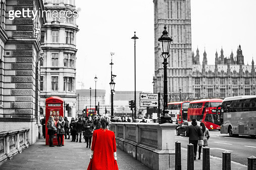 Woman with red dress in London selection color. - gettyimageskorea