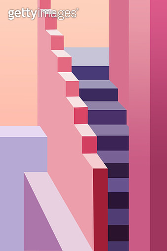 Illustration of minimal architecture with colors and stairs in Spain. - gettyimageskorea