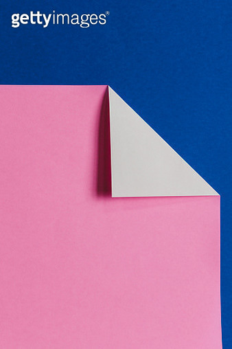 Detail of folded pink & blue origami paper - gettyimageskorea