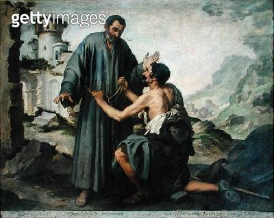 <b>Title</b> : Fray Ginepero and the poor Man (oil on canvas)Additional InfoFrere Junipero et le pauvre;<br><b>Medium</b> : oil on canvas<br><b>Location</b> : Louvre, Paris, France<br> - gettyimageskorea