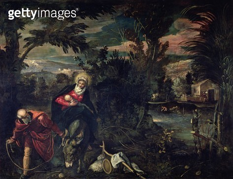 <b>Title</b> : The Flight into Egypt, c.1575-77<br><b>Medium</b> : oil on canvas<br><b>Location</b> : Scuola Grande di San Rocco, Venice, Italy<br> - gettyimageskorea