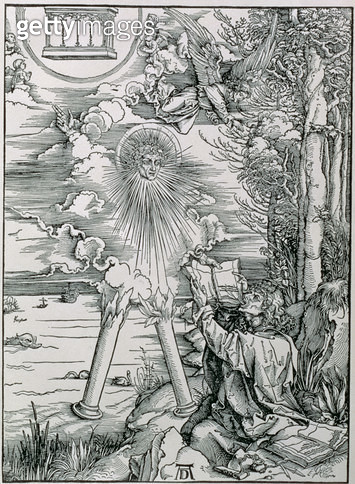 <b>Title</b> : St. John Devouring the Book from the 'Apocalypse' or 'The Revelations of St. John the Divine', pub. 1498 (woodcut)<br><b>Medium</b> : woodcut<br><b>Location</b> : Private Collection<br> - gettyimageskorea