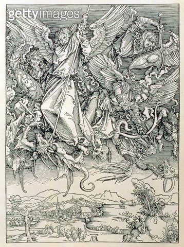 <b>Title</b> : St. Michael Battling with the Dragon from the 'Apocalypse' or 'The Revelations of St. John the Divine', pub. 1498 (woodcut)<br><b>Medium</b> : woodcut<br><b>Location</b> : Private Collection<br> - gettyimageskorea