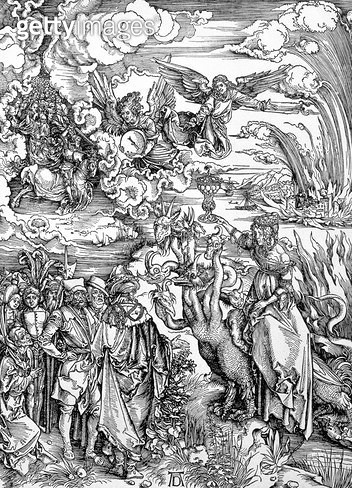 <b>Title</b> : The Babylonian Whore from the 'Apocalypse' or 'The Revelations of St. John the Divine', pub. 1498 (woodcut)<br><b>Medium</b> : woodcut<br><b>Location</b> : Private Collection<br> - gettyimageskorea