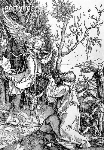 <b>Title</b> : Joachim and the Angel from the 'Life of the Virgin' series, pub. 1511 (woodcut)<br><b>Medium</b> : woodcut<br><b>Location</b> : Private Collection<br> - gettyimageskorea