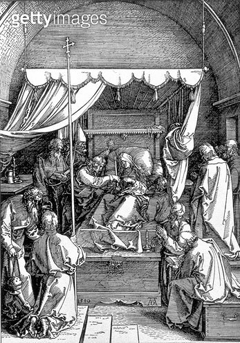 <b>Title</b> : The Death of the Virgin from the 'Life of the Virgin' series, engraved 1510, pub. 1511 (woodcut)<br><b>Medium</b> : woodcut<br><b>Location</b> : Private Collection<br> - gettyimageskorea