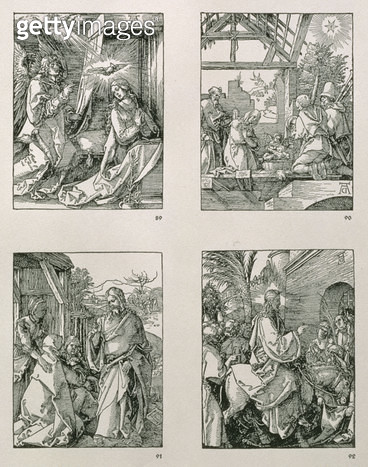 <b>Title</b> : The 'Small Passion' series (TL-BR): The Annunciation; The Adoration of the Shepherds; Christ Taking Leave of his Mother; Christ's Entry into Jerusalem, pub. 1511 (woodcut)<br><b>Medium</b> : woodcut<br><b>Location</b> : Private Collection<b - gettyimageskorea