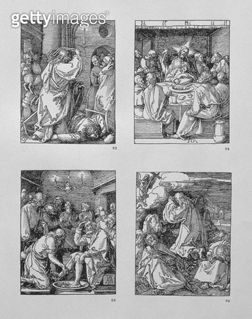 <b>Title</b> : The 'Small Passion' series: (clockwise) Christ expelling the moneychangers from the temple; the Last Supper; Christ washing Peter's feet; Agony in the garden, pub.1511 (woodcut)<br><b>Medium</b> : woodcut<br><b>Location</b> : Private Collec - gettyimageskorea
