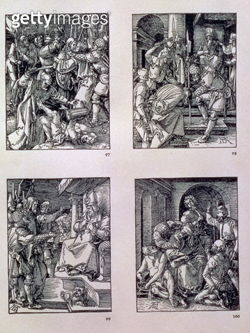 <b>Title</b> : The 'Small Passion' series (clockwise): The Betrayal of Christ; Christ before Annas; Christ before Caiaphas; the Mocking of Christ, pub. 1511 (woodcut)<br><b>Medium</b> : woodcut<br><b>Location</b> : Private Collection<br> - gettyimageskorea