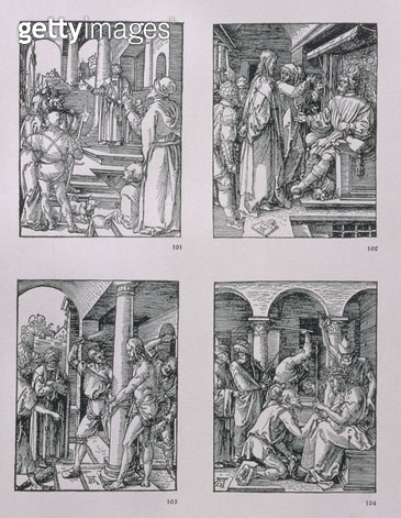 <b>Title</b> : The 'Small Passion' series (clockwise): Christ before Pilate; Christ before Herod; Flagellation; Crowning with thorns, pub. 1511 (woodcut)<br><b>Medium</b> : woodcut<br><b>Location</b> : Private Collection<br> - gettyimageskorea