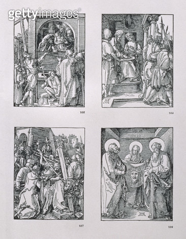 <b>Title</b> : The 'Small Passion' series (clockwise): Ecce Homo; Pilate Washing his Hands; Christ Bearing the Cross; St. Veronica with the Sudarium between SS. Peter and Paul, dated 1510, pub. 1511 (woodcut)<br><b>Medium</b> : woodcut<br><b>Location</b>  - gettyimageskorea