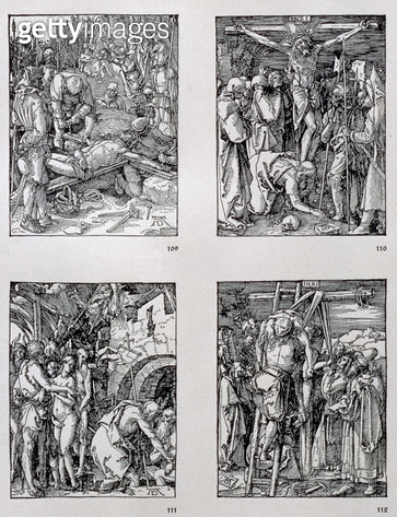 <b>Title</b> : The 'Small Passion' series (clockwise) The Nailing to the Cross; Crucifixion; Christ in Limbo; The Descent from the Cross, pub. 1511 (woodcut)<br><b>Medium</b> : woodcut<br><b>Location</b> : Private Collection<br> - gettyimageskorea