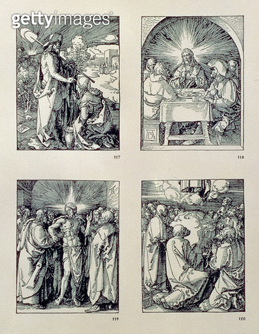 <b>Title</b> : The 'Small Passion' series: (clockwise), Christ appears to the Magdalen as a gardener; Christ at Emmaus; Christ and the doubting Thomas; Ascension, pub. 1511 (woodcut)<br><b>Medium</b> : woodcut<br><b>Location</b> : Private Collection<br> - gettyimageskorea
