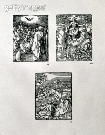 <b>Title</b> : The 'Small Passion' series (clockwise): Pentecost; Last Judgement; Agony in the Garden, pub. 1511 (woodcut)<br><b>Medium</b> : woodcut<br><b>Location</b> : Private Collection<br> - gettyimageskorea