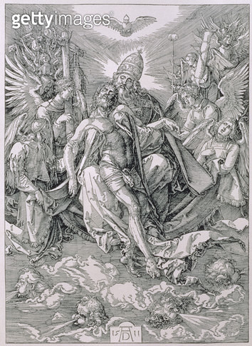 <b>Title</b> : The Holy Trinity, pub. 1511 (woodcut)<br><b>Medium</b> : woodcut<br><b>Location</b> : Private Collection<br> - gettyimageskorea