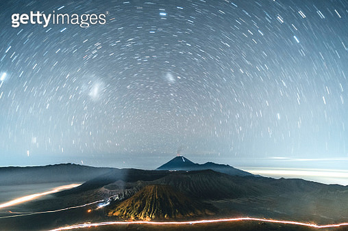 Astrophoto Star trails at Volcano Mt.Bromo East Java,Indonesia - gettyimageskorea
