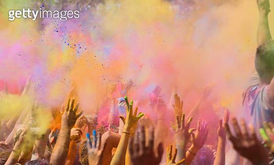 People celebrating the holi festival in Barcelona. - gettyimageskorea
