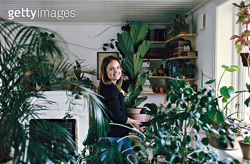 Portrait of smiling woman carrying potted plant at home - gettyimageskorea