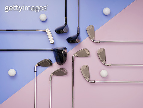 Flat lay golf item pattern on pink and purple background. - gettyimageskorea