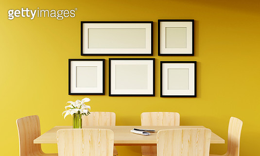 Modern Yellow Living Room With Sofa And Furniture And Group Of Picture Frame On The Wall. - gettyimageskorea