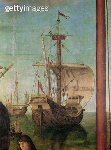 <b>Title</b> : The Meeting and Departure of the Betrothed, from the St. Ursula Cycle, detail of a ship, 1490-96 (oil on canvas)Additional Infoo<br><b>Medium</b> : <br><b>Location</b> : Galleria dell' Accademia, Venice, Italy<br> - gettyimageskorea