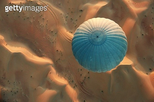 High Angle View Of Hot Air Balloon Over Sand - gettyimageskorea