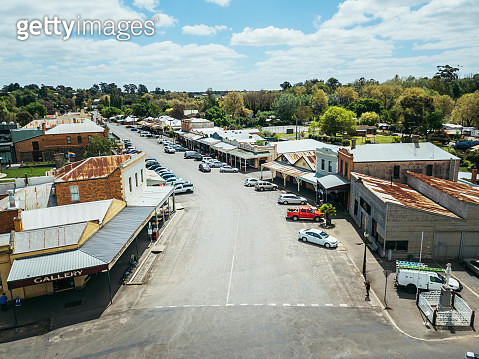 Aerial view of a small rural town in rural Victoria, Australia - gettyimageskorea