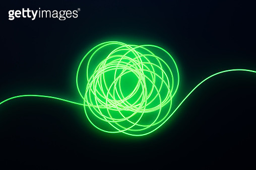 Illuminated Neon Light Wire Tangled Connection in The Dark Directly Above Shot. - gettyimageskorea