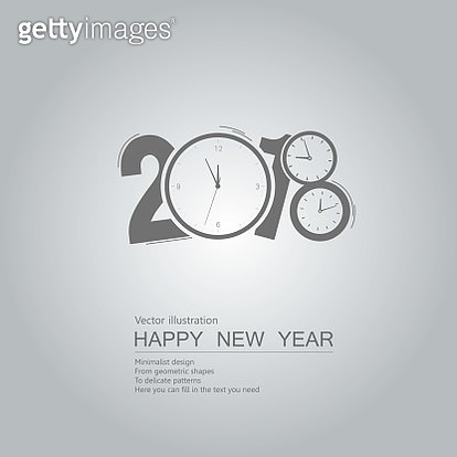 Happy New Year with clock shape on gray background - gettyimageskorea